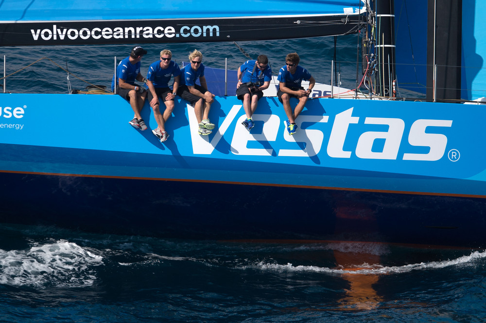 October 3, 2014. Team Vestas Wind during the  practice Race in Alicante.